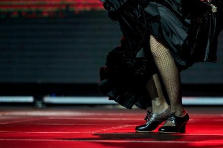 Woman legs dance flamenco black skirt and shoes in a concert Standard-Bild