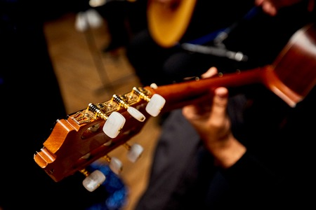 Hand Playing on Neck of Guitar, detail, close-up dark background Stock Photo