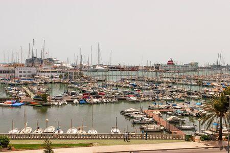 Palma de Mallorca, Mallorca, May, 13, 2015. many yachts and boats stand at the docks on a sunny day