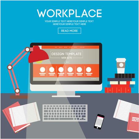 espacio de trabajo: Vector llustration lugar de trabajo. Espacio de trabajo de la oficina creativa con el ordenador. Estilo minimalista plana. Dise�o plano con largas sombras.