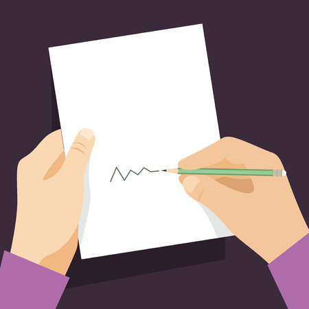 sign contract: Man signs document  handle puts his signature cartoon flat design style. Vector design template Illustration
