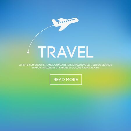 poster art: Abstract vector blurred background with airplane and travel text typography Illustration
