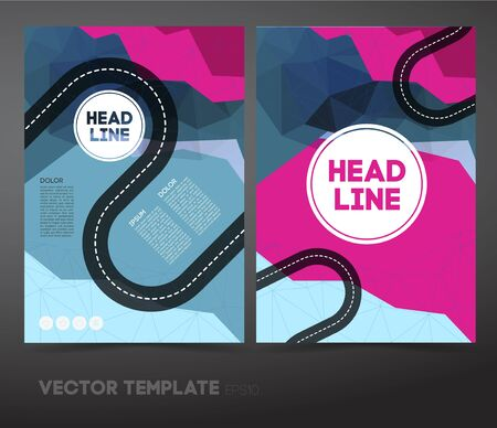 tar paper: Set Abstract Vector Business Flyer  Brochure Design Template with Colorful Geometric Triangular Background in Polygon Style and Road. With Business Publication, Web, Promotion or Book