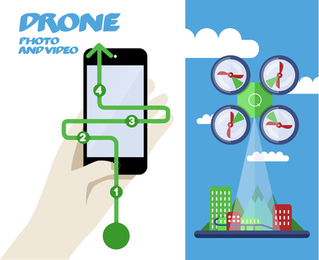 Abstract Vector Illustration with Drone or quadrocopter. Photo or Video City. Vector