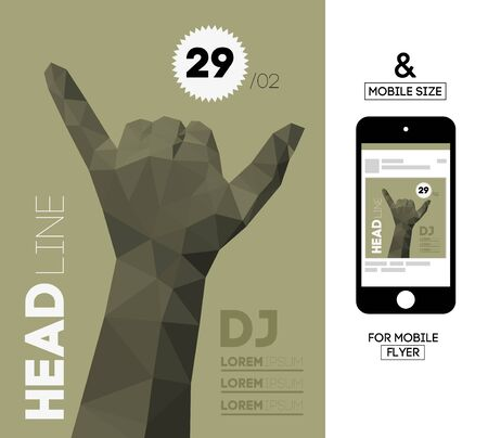 squire: Vector Template with Polygonal Triangular Hand Gesture for Flyer, Invite, Business. With Squire Format Size for Mobile. Illustration