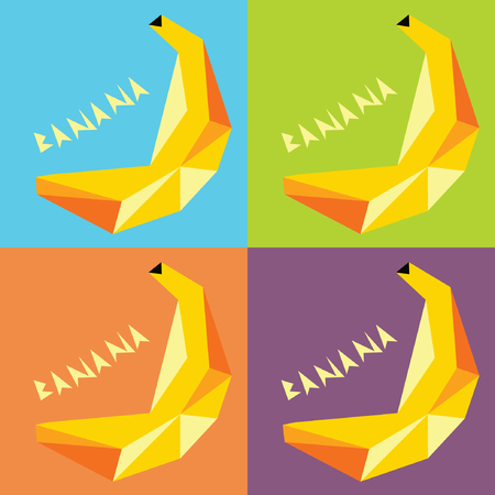 etiqueta: Four Drawings Bananas in the style of PopArt For Flyers and Print Card or Banner with the Angular Lettering