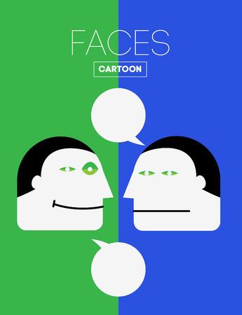 cara triste: Set Vector divertidos Emociones cabeza o la cara en estilo de dibujos animados. Con alegr�a, tristeza, indiferencia, tristeza, depresi�n, risa, Aburrimiento, Satisfacci�n Emociones. Vectores