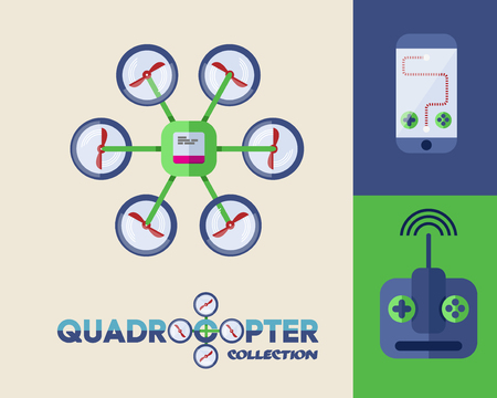 Drone or Quadrocopter. Mobile Controller. Abstract Vector Illustration for Flyers or Infographic Vector