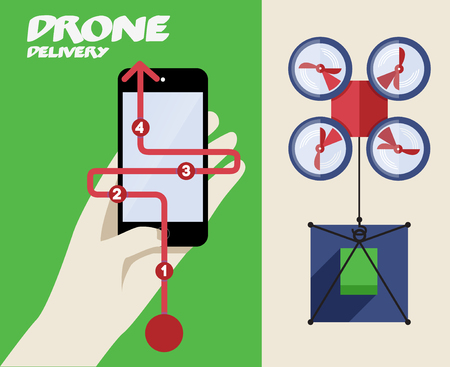 Delivery with Drone or Quadrocopter. Mobile Controller. Abstract Vector Illustration Vector
