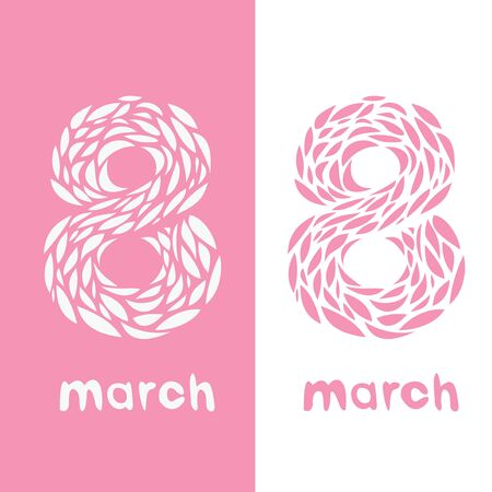 Card with the number eight for a card or registration on the 8th of March (womens day)   Vector