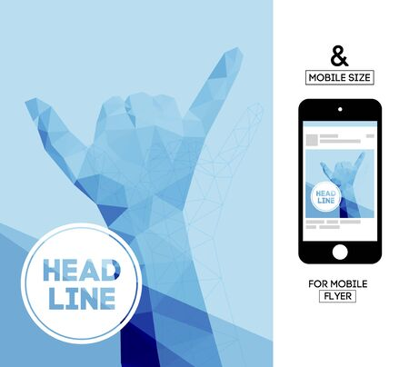paper punch: Vector Template with Polygonal Triangular Hand Gesture for Flyer, Invite, Business. With Squire Format Size for Mobile. Illustration