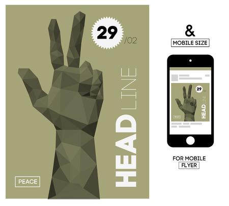 simbolo della pace: Modello di vettore con Gesture poligonale triangolare mano per Flyer, Invita, Affari. Con Squire Formato formato per Mobile.