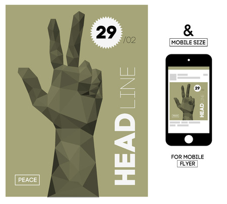 Vector Template with Polygonal Triangular Hand Gesture for Flyer, Invite, Business. With Squire Format Size for Mobile.