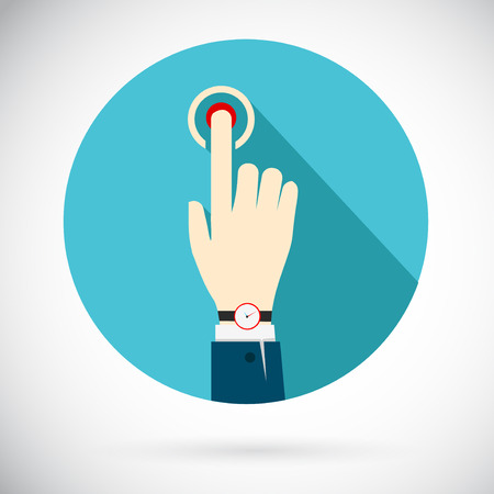 triggers: Touch icon. Hand of a businessman in a suit with a clock, clicking on the button that triggers a process. In flat style.