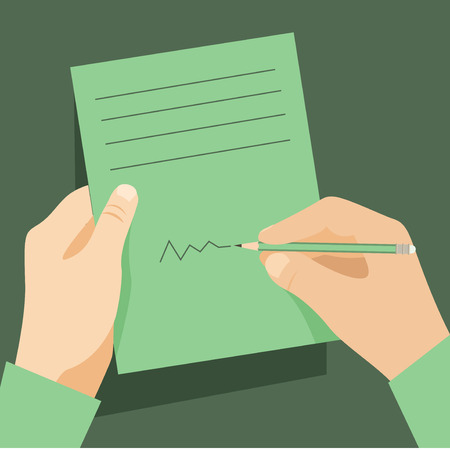 writing paper: Man signs document  handle puts his signature cartoon flat design style. Vector design template Illustration