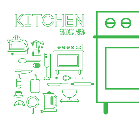Set Abstract Cooking Kitchen signs Styled Lines. On background Vector