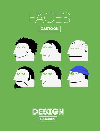risas: Set Vector divertidos Emociones cabeza o la cara en estilo de dibujos animados. Con alegr�a, tristeza, indiferencia, tristeza, depresi�n, risa, Aburrimiento, Satisfacci�n Emociones. Vectores