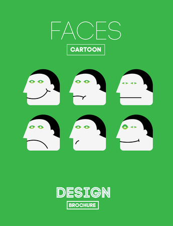 laughter: Set Vector Funny Emotions Head or Face on Cartoon Style. With Joy, Sadness, Indifference, Sadness, Depression, Laughter, Boredom, Satisfaction Emotions.