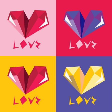says: Four color options postcards with a picture of a heart that says love on Valentines day