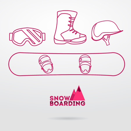 winter sport: Sports background with snowboard equipment flat icons. Helmet, goggles, jacket, snowboard, boots  Illustration