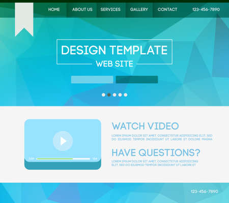 site web: Vector design website theme template. Landing web page layout with blurred background. Illustration