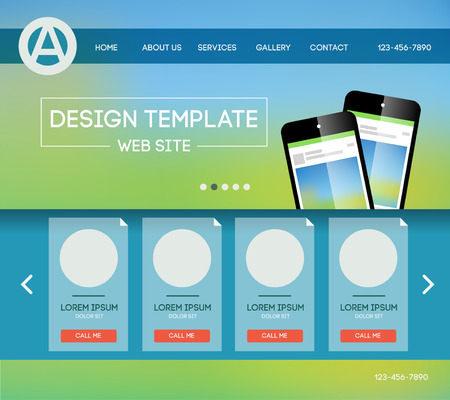 page layout: Vector design website theme template. Landing web page layout with blurred background. Illustration