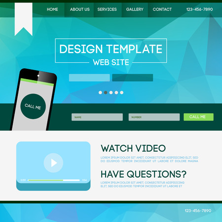 landing: Vector design website theme template. Landing web page layout with blurred background. Illustration