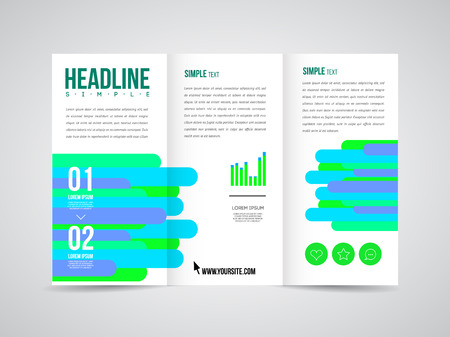 Modern Vector three fold brochure, leaflet, flyer design template for business with text and abstract signs. Vector