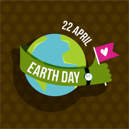 hands holding globe: Vector creative Happy Earth Day Greeting stock vector for cards