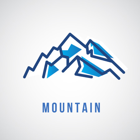 north pole sign: Mountain - Geometric Sign - Vector Sign Template. Mountain water. Design element.