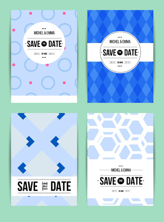 nuptial: Vector card set templates. Abstract background illustration for Save The Date, baby shower, mothers day, valentines day, birthday cards, invitations and more.