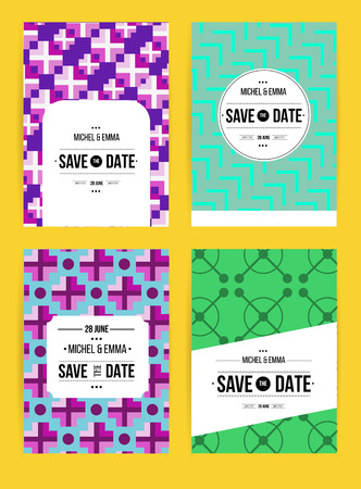 Vector card set templates. Abstract background illustration for Save The Date, baby shower, mothers day, valentines day, birthday cards, invitations and more.