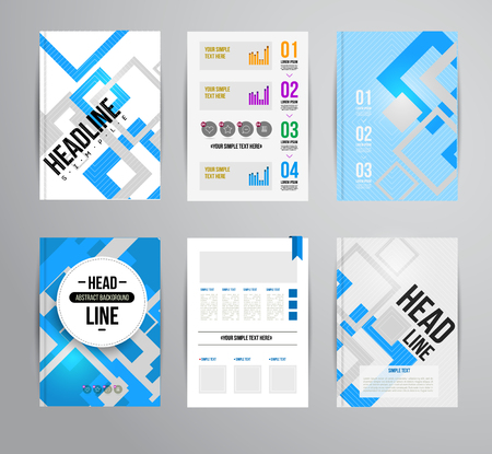 Vector trendy brochur template. Colorful design illustration for print magazine, flyer, presentation. with infographic and headline. Çizim