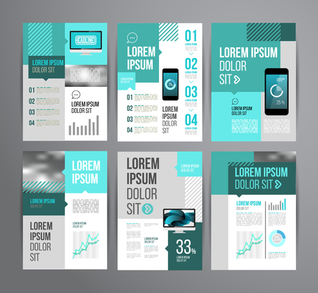 Vector design brochure template with statistic and infographic for business flyer or presentation. Trend design. Çizim