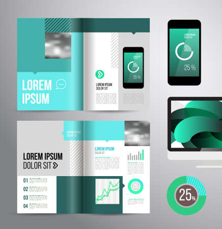 brochure template: Vector design brochure template with statistic and infographic for business flyer or presentation. Trend design. Illustration