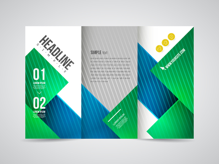 Modern Vector three fold brochure, leaflet, flyer design template for business with text and abstract signs.