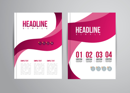 book page: Vector flyer design template with trend illustration. For business presentation, brochure.