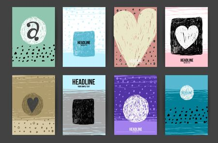 contemporary design: Set of Trendy Posters with hand drawn Background. Modern Hipster Style for Invitation, Business Contemporary Design. Geometric Labels Design. Hand Drawn Elements for Placards, Flyer