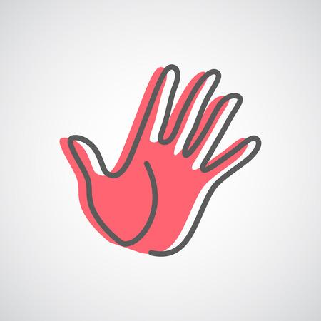 Helpende hand silhouet vector design template. Vijf vingers overhandigen creatief concept pictogram.