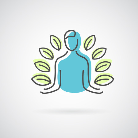 Vector abstract emblem - outline monogram - flower symbol - concept for organic shop or yoga studio - design template