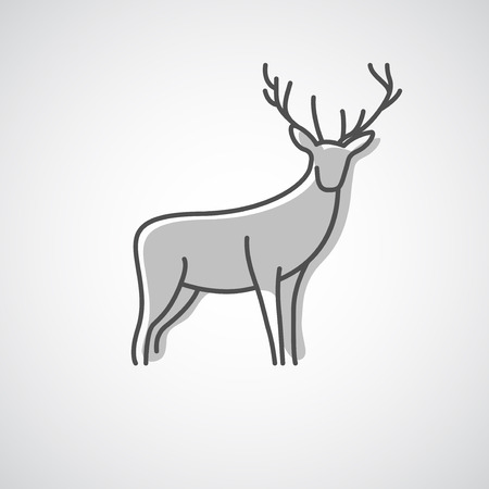 animals horned: Artistic vector silhouette of a deer. Creative idea of a wild animal icon.