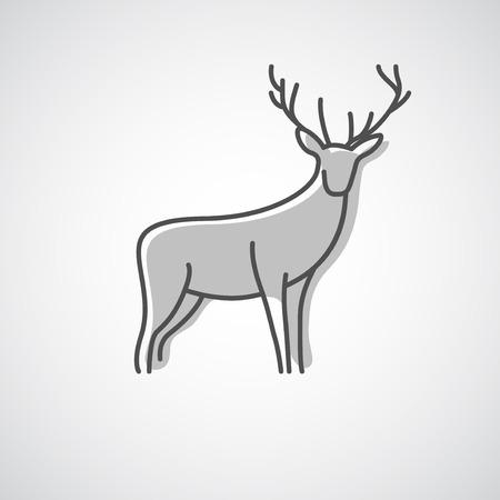 venado: Vector silueta art�stica de un ciervo. Idea creativa de un icono de animal salvaje. Vectores