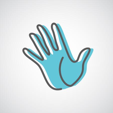 manos levantadas: Ayudar silueta de la mano plantilla de dise�o vectorial. Cinco dedos de la mano icono de concepto creativo.