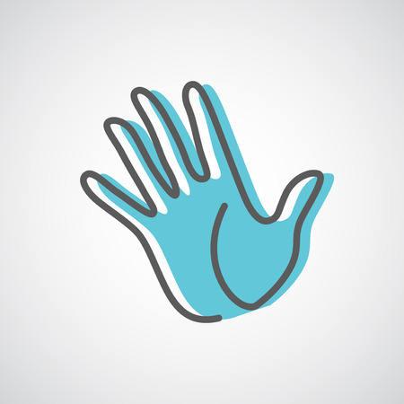 hand up: Helping hand silhouette vector design template. Five fingers hand creative concept icon.