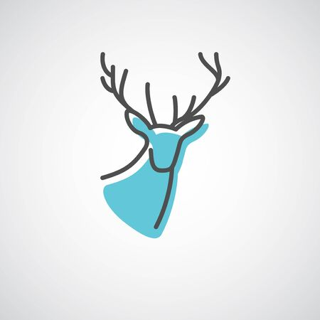 Artistic vector silhouette of a deer. Creative idea of a wild animal icon.