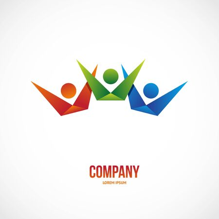 business team: Vector winner people team template for business.