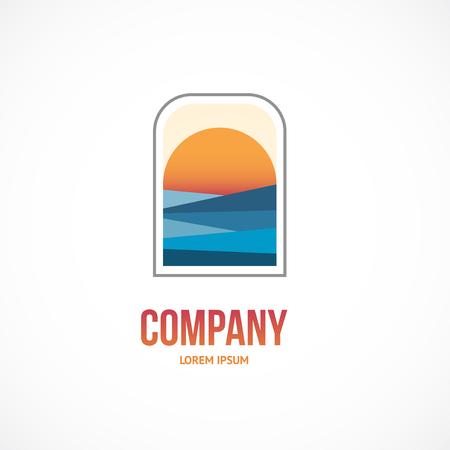 Vector sunrise. Ocean or sea icon.