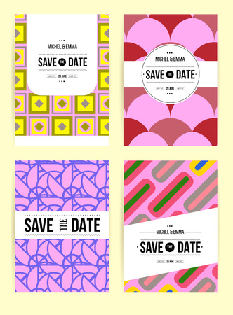 unusual valentine: Vector card set templates. Abstract background illustration for Save The Date, baby shower, mothers day, valentines day, birthday cards, invitations and more.