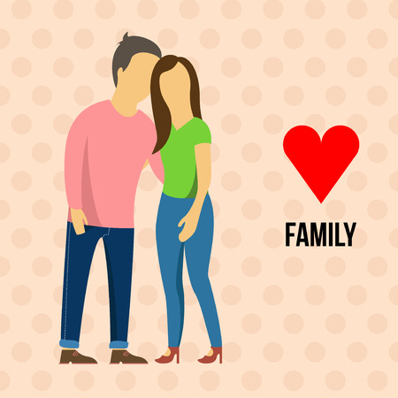 cuddle: Young couple cuddle. Girl with boyfriend vector illustration. Love.