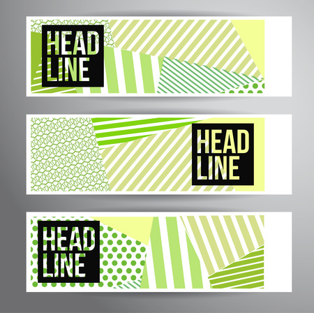 Abstract striped banners for Modern Hipster Cover Design.  向量圖像